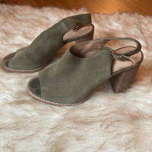 Madewell Cary Sling Back Peep Toe Heels Green 6.5